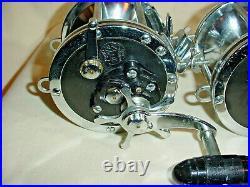 2 Matching Vintage Penn Senator 114 6/0 Reels Black Plates Harness Lugs Made USA