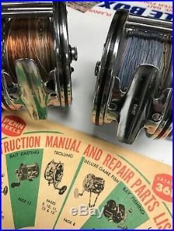 2 Minty Vintage Penn 49 Reels W Hardware/Manual
