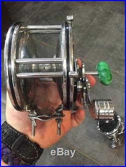 2 Vintage Penn 49 Deep Sea Fishing Reel With Fishing Seascape