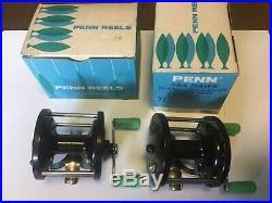 2 x vintage retro penn sea hawk 77 multiplier beach boat fishing reelS boxed