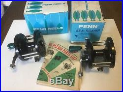 2 x vintage retro penn sea scamp 78 multiplier beach boat fishing reels boxed