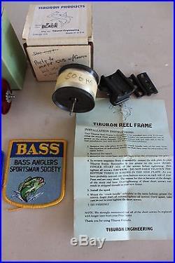 3 PENN ONE TIBURON REEL, ROD BUILDING BOOK, PENN AND BASS ANGLERS PATCHES