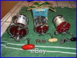 3 Vintage Penn reels-114H-112H-500S- 6/0, 3/0 & Jigmaster Very Nice set