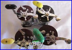 4 Vintage Penn Fishing Reels 2 Squidder #140, Jig master #500, Levelline #350