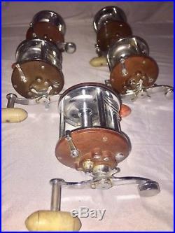 5 Vintage Penn Peerless No 9 Fishing Reel lot of 5 Red reels with Clickers Working