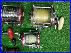 (7) Vintage PENN REELS (LOT OF 7)Senator 4/0, Jigmaster #500 112 Senator 2/0