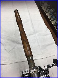 Antique Hard To Find Vintage Big Game Reel Penn Senator 116a (10/0) On Wood Rod