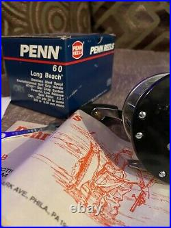 Brand New Vintage Penn Long Beach 60 Reel with Box Paperwork & Tools Collectable