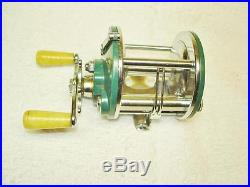 Early Penn Peer #109 Level Wind Casting Reel With Green Sideplates