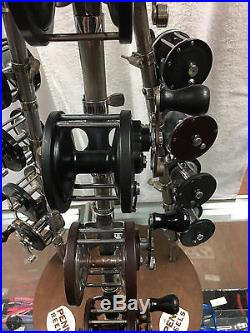 EX RARE VG ANTIQUE FACTORY PENN REEL DISPLAY COMPLETE With 15 1930's-40's REELS