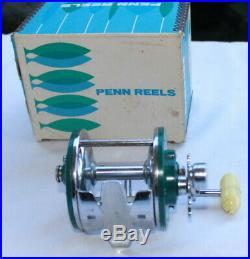 Green Penn Peer 209 Level Wind Saltwater Fishing reel nice in box + Rod clamp