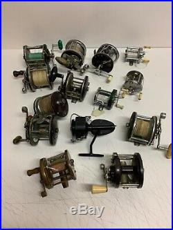 Lot 14 Antique Fishing Reels Penn Shakespeare Ocean Bay City South Bend Pennell