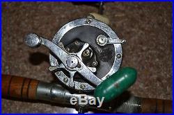 Lot 2 Antique Vintage Fishing 7' Rod Reel PENN SENATOR 4/0 Delmar 285 Working