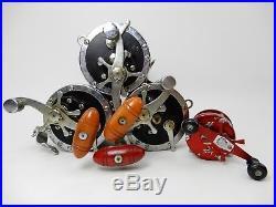 Lot 4 Vintage Fishing Reels Penn Senator 114 6/0 Big Game Reel Ambassadeur 5000