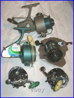Lot of 5 Vintage Fishing Reels Daiwa Millionaire+Penn 155+704+Squidder Untested
