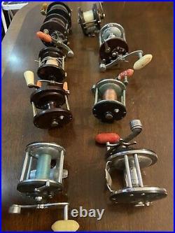Lot of 9 Vintage PENN Fishing Reels Conventional JIGMASTER DELMAR LONG BEACH