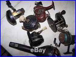 Lot of 9 Vintage fishing reels Penn, Mcgill, Johnson