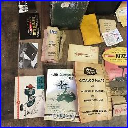 Lot of VINTAGE Empty Reel Boxes & Paperwork Including Penn, Garcia Mitchell, Etc