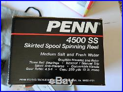 Mulinello Penn 4500 Ss New In Box Reel Vintage Spinning Made In U. S. A