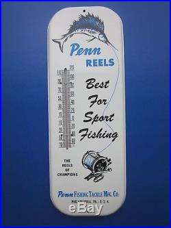 NEW 1950's PENN REELS SPORT FISHING ADVERTISING THERMOMETER 60 YEARS OLD