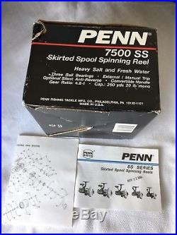 NEW Vintage Penn 7500SS Spinfisher Heavy Duty Saltwater Spinning Reel USA