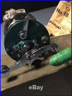 Nice Used Vintage Green Penn Monofil # 209M Fishing Reel in Box With Accessories