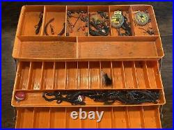 Old Pal Woodstream Bass Boss Model 6500 Fishing Tackle Box withTrays And Extras