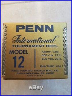 PENN International TOURNAMENT REEL MODEL 12 VINTAGE WON IN 1987 NEW IN BOX