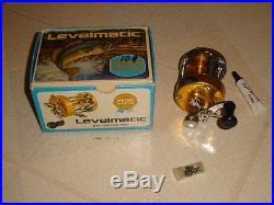 PENN LEVELMATIC 920 anodized gold bait casting reel + parts+ box + oil