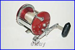 Penn 500S Jigmaster Vintage Conventional Fishing Reel Made In USA Red Smooth