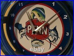 Penn Deep Sea Fishing Reel Rod Man Cave Neon Clock Advertising Sign
