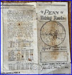 Penn No. 3 Fishing Reels Pamphlet Rare Original HTF USA Paper Catalog Penn