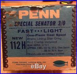 Penn Senator 112H 3/0 High Speed Reel With Original Box Lot F-3