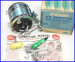 Penn Senator 4/0 113 sea boat fishing reel, box + papes in best collector co