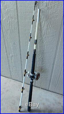 Penn Slammer Deep Sea Fishing Rod 113H Tiburon Special 4/0 Senator Red on Chrome