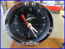 Penn no. 49 Reel Clock compass Vintage Marlin trophy wood Block 1972 gift