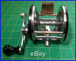 RARE Early 40's Penn Long Beach Reel with Pflueger Leather Thumb Drag Vintage