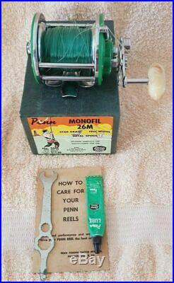 RARE Vintage Penn 26M MONOFIL Green fishing reel with original box & Instruction
