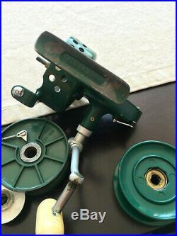 Rare Classic Vintage Penn 706 Greenie Spinning Reel, Drilled, Extra Spool. Nice