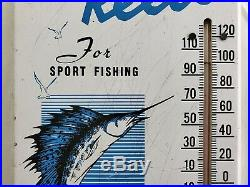 Rare Vintage 1950's Penn Fishing Reels Gas Oil 15 Metal Thermometer Sign