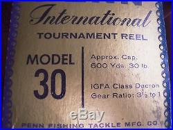 Rare Vintage Penn International 30 Big Game Reel withBOX NEAR MINT COND