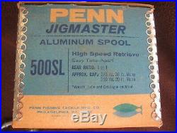 Rare Vintage Penn Jigmaster 500SL Big Game Reel withBox EXEC COLLECTIBLE COND