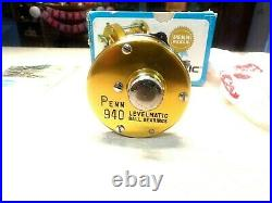 VINTAGE PENN FISHING REEL With BOX LEVEL-MATIC 940 SUPER CLEAN