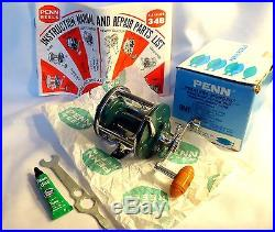 Vintage Penn Peerless Monofil 9 Rare Teal Green Reel In Box++, Minty