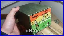 VINTAGE PENN PEERLESS No 9 REEL With ORIGINAL BOX RARE RED HANDLE FREE SHIPPING