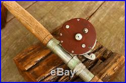 VINTAGE PENN PEER 209 Level Wind Fishing Reel With Rod Old Wooden Working
