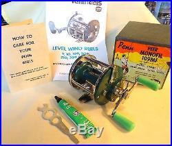 VINTAGE PENN PEER MONOFIL 109 RARE TEAL GREEN REEL IN BOX, MINTY