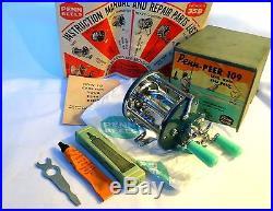 Vintage Penn Peer Monofil 109 Rare Teal Green Reel In Box++, Minty