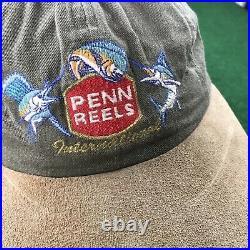 VTG 90S Penn Reels International Fishing Long Bill Strapback Hat Marlins Mens