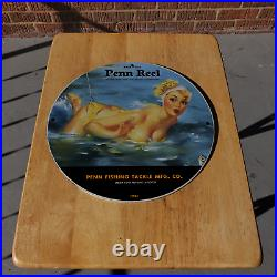Vintage 1941 Penn Reel Fishing Tackle Manufacturing Co Porcelain Gas & Oil Sign